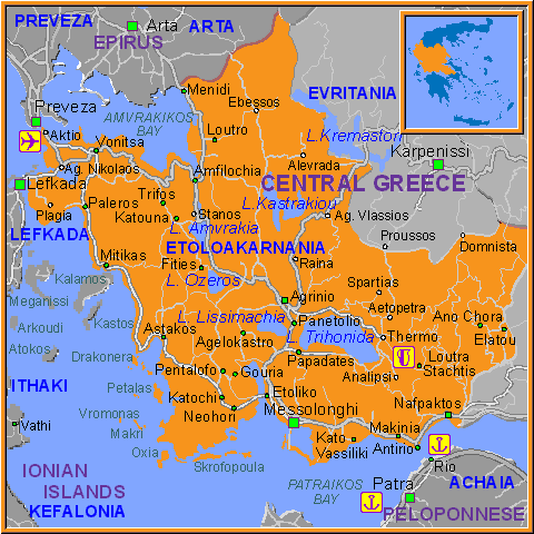 Travel Greece Map of Etoloakarnania