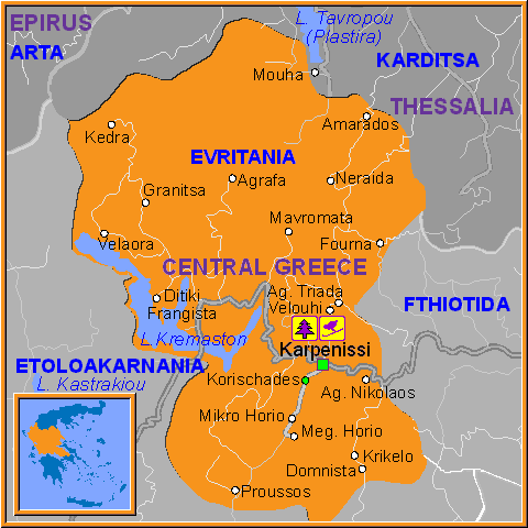 Travel Greece Map of Evritania