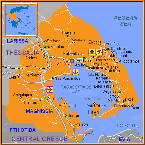 Travel Greece Map of Magnisia