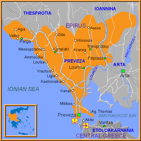 Travel Greece Map of Preveza