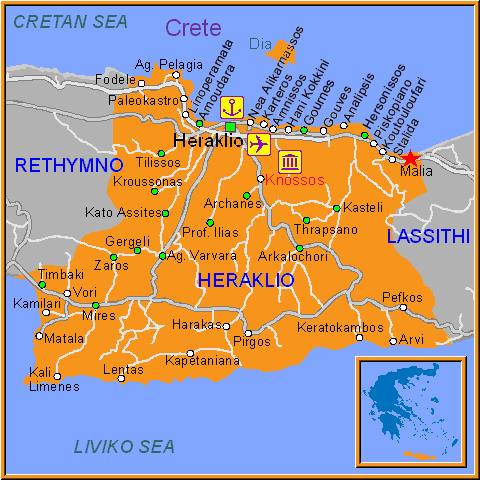 Travel Greece Map of Malia