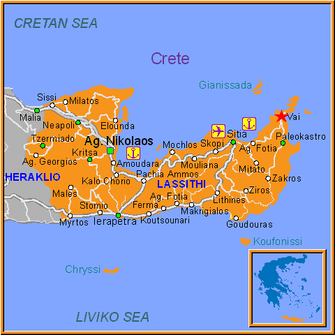 Travel Greece Map of Vai