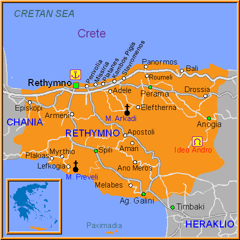 Travel Greece Map of Rethymno
