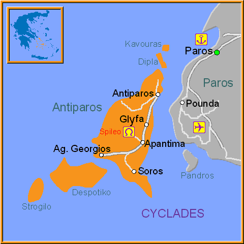 Travel Greece Map of Antiparos