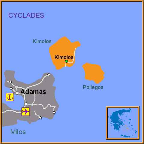 Travel Greece Map of Kimolos