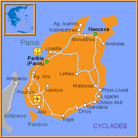 Travel Greece Map of Paros