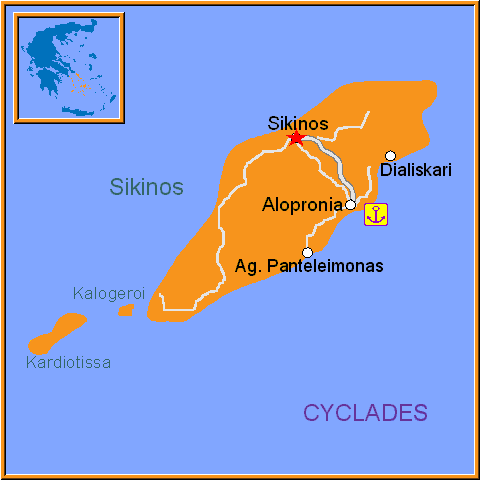 Travel Greece Map of Sikinos
