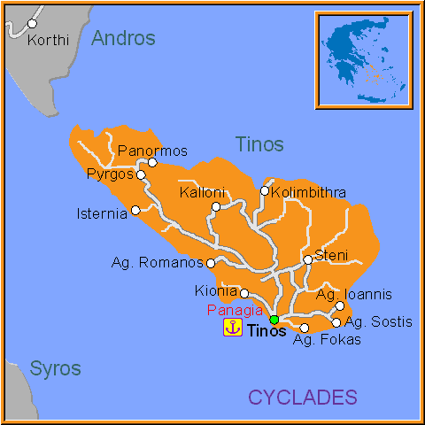 Travel Greece Map of Tinos