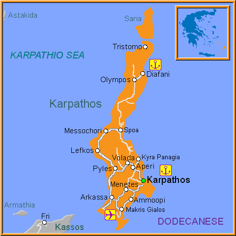 Travel Greece Map of Karpathos