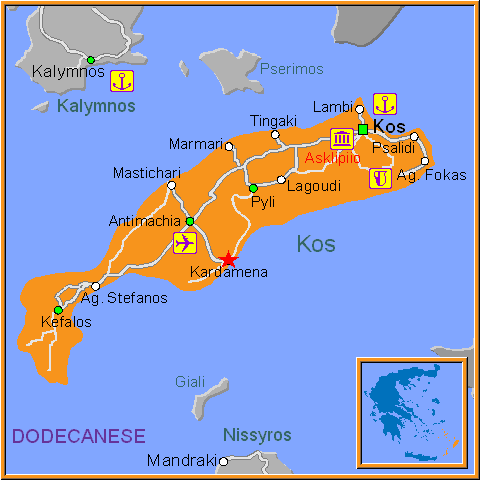 Kardamena kos dodecanese greece travel guide to kardamena travel greece map of kardamena gumiabroncs Choice Image