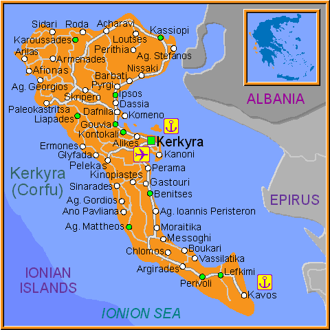 Travel Greece Map of Corfu