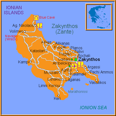 Travel Greece Map of Zakynthos