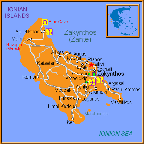 Travel Greece Map of Tsilivi