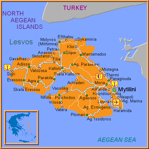 Travel Greece Map of Lesvos