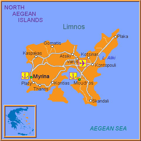 Travel Greece Map of Limnos