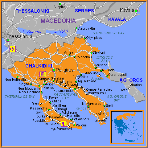 Travel Greece Map of Chalkidiki