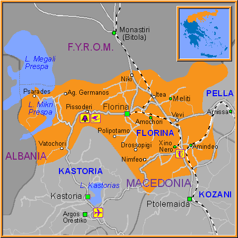 Travel Greece Map of Florina