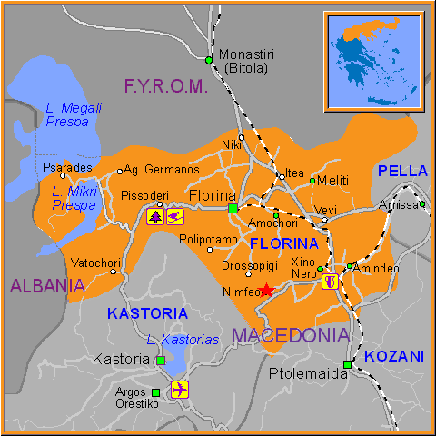Travel Greece Map of Nimfeo