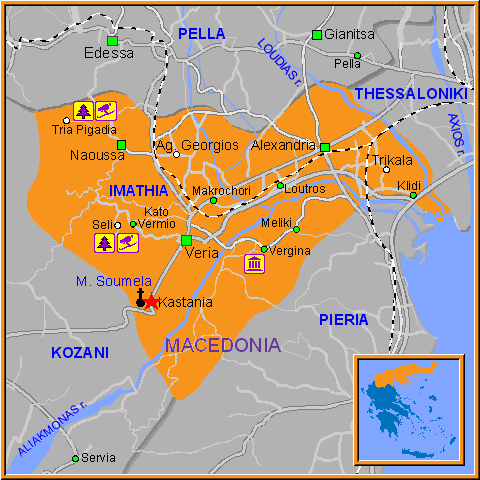Travel Greece Map of Kastania