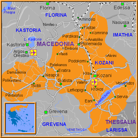 Travel Greece Map of Kozani