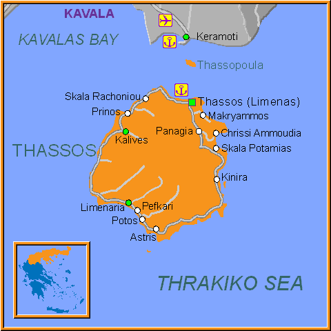 Travel Greece Map of Thassos