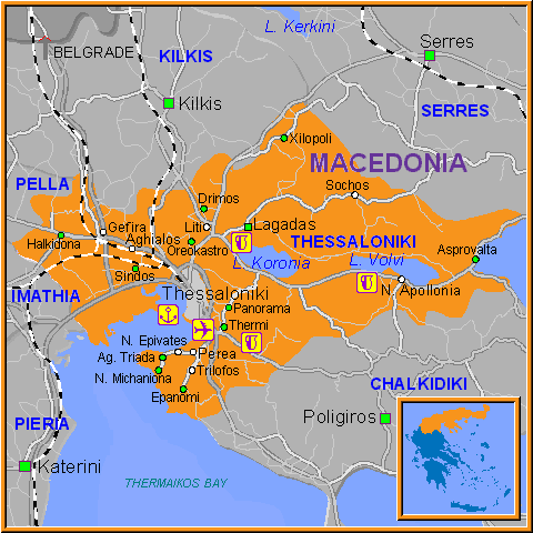 Travel Greece Map of Thessaloniki