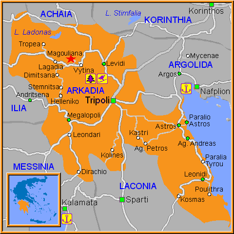 Travel Greece Map of Magouliana