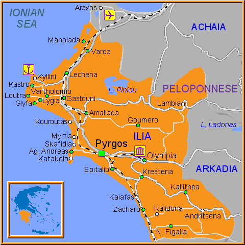 Travel Greece Map of Ilia