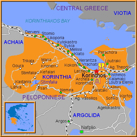 Travel Greece Map of Korinthos