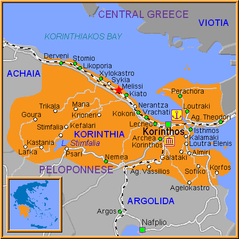Travel Greece Map of Melissi