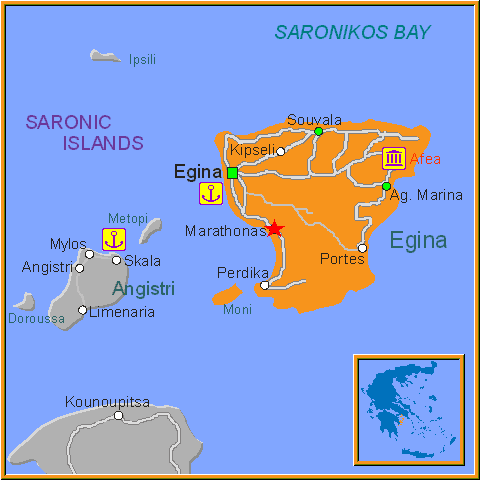 Travel Greece Map of Marathonas