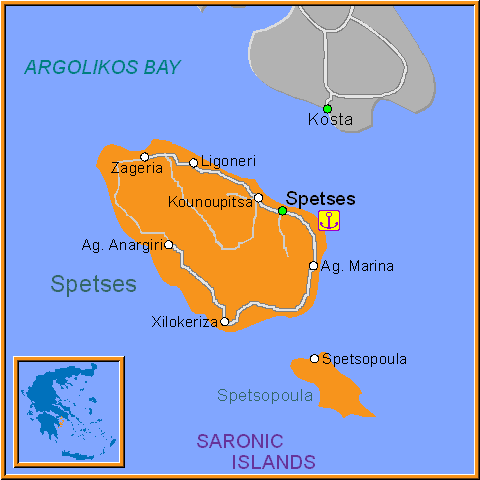Travel Greece Map of Spetses