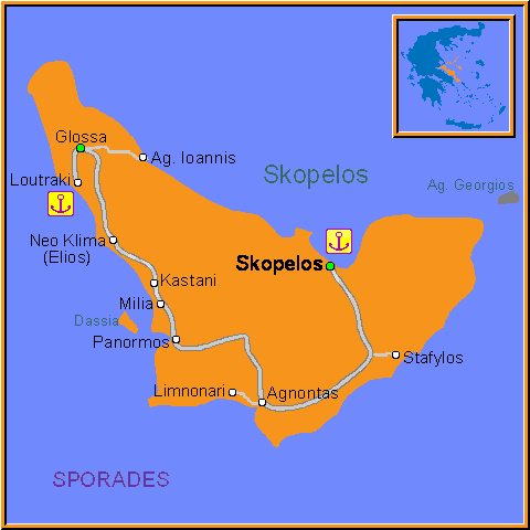 Travel Greece Map of Skopelos